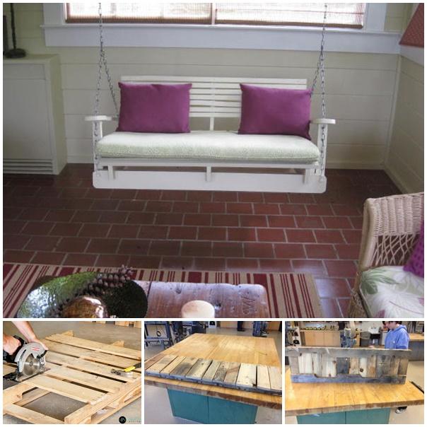 20+ Outdoor Pallet Furniture DIY ideas and tutorials- DIY Pallet Swing Chair