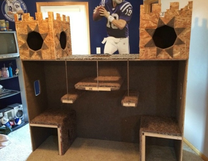 DIY Plywood Cat Castle2