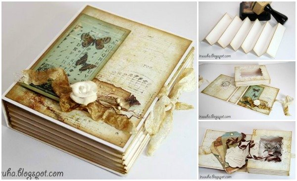 diy vintage scrapbook gift box. Black Bedroom Furniture Sets. Home Design Ideas