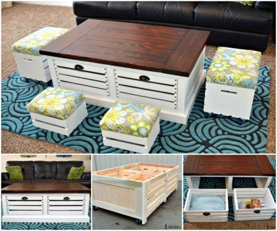 How to diy wine crate coffee table for Coffee table made out of wooden crates