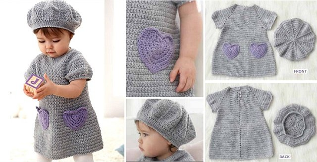 Free Pattern Crochet Baby Dress And Hat Rastercap Crochet