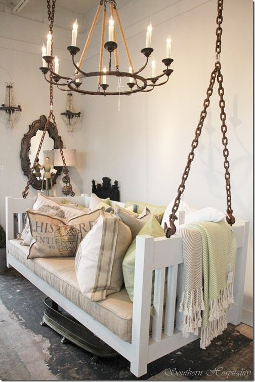Fab art diy furnitures from repurposed baby cribs7 for Old porch swing