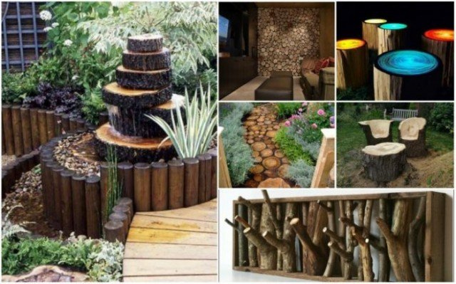 20 diy rustic log decorating ideas for home and garden for Rustic outdoor decorating