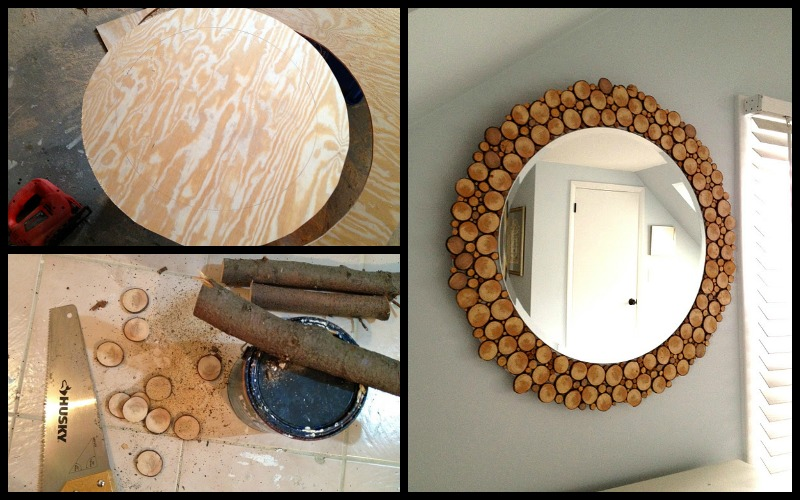 Diy Wood Slice Mirror Fab Art Diy Rustic Log Decorating Ideas For Home