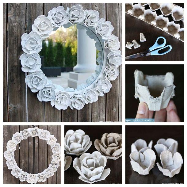 20 upcycled egg carton decorating ideas for Diy mirror frame decoration