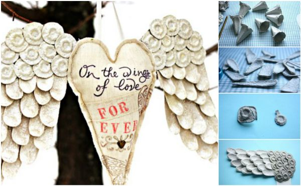 Upcycled Egg Carton Decorating Ideas and Tutorials - angel wings