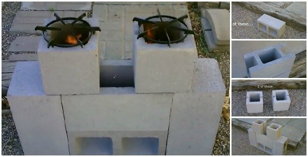 FabArtDIY Concrete Block Dual Burner Rocket Stove