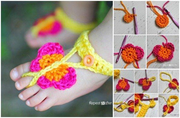 FabArtDIY Crochet Butterfly Barefoot Sandals