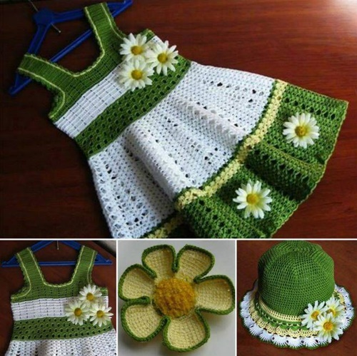 Crochet Girls Daisy Flower Sun Hat and Dress Set Free Pattern