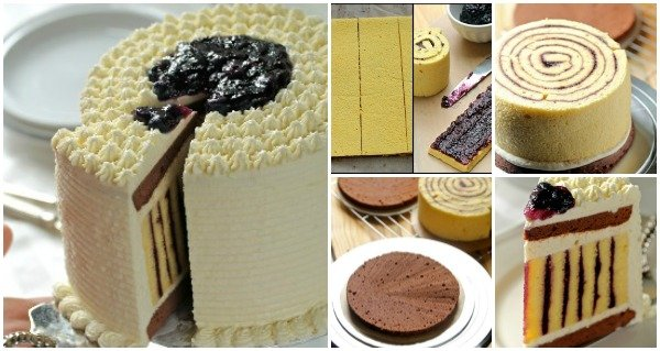 FabArtDIY How to Make Fab Chocolate Blueberry Striped Cake