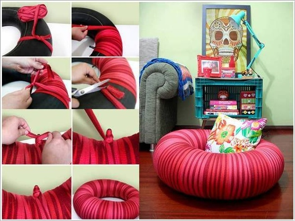 Tire Inner Tube Wrapped Seat- 20+ DIY Ways to Repurpose Old Tires for Home and Garden