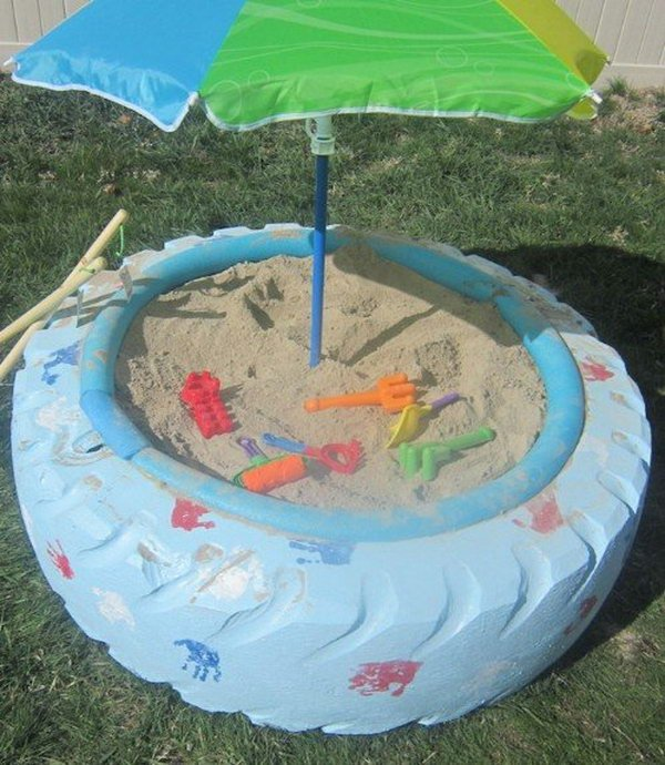 DIY Tire Sandbox--20+ DIY Ways to Repurpose Old Tires for Home and Garden