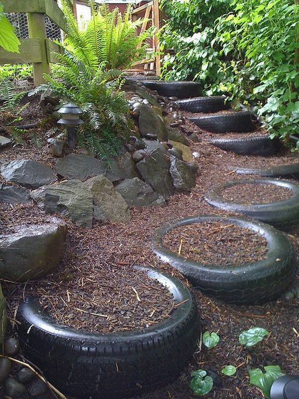 DIY Old tires stairs-20+ DIY Ways to Repurpose Old Tires for Home and Garden