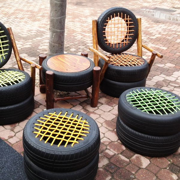 DIY Tire Seats--20+ DIY Ways to Repurpose Old Tires for Home and Garden