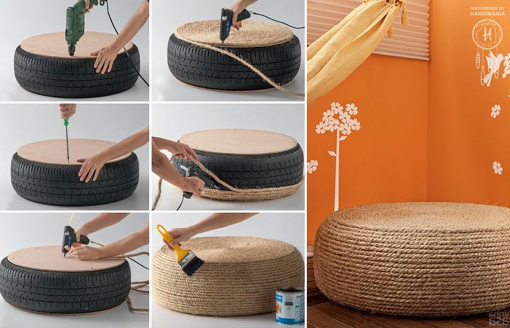 Rope Covered Tire Ottoman-20+ DIY Ways to Repurpose Old Tires