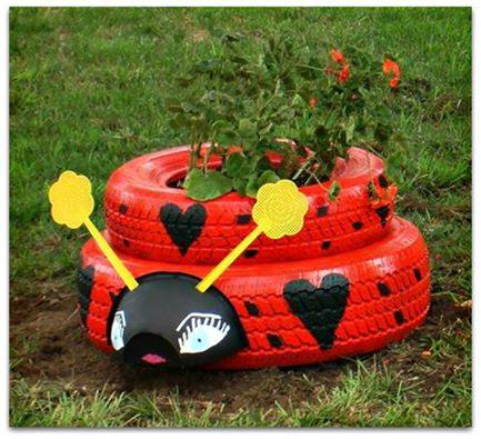 DIY Ladybug Tire Planter-20+ DIY Ways to Repurpose Old Tires for Home and Garden