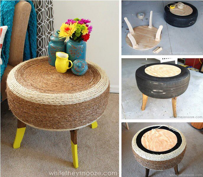 Rope Tire Table-20+ DIY Ways to Repurpose Old Tires for Home and Garden