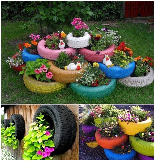 DIY Stacked Tire Planter-20+ DIY Ways to Repurpose Old Tires for Home and Garden