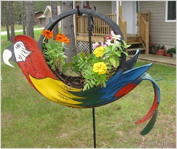 DIY Tropical Parrot Planter--20+ DIY Ways to Repurpose Old Tires for Home and Garden