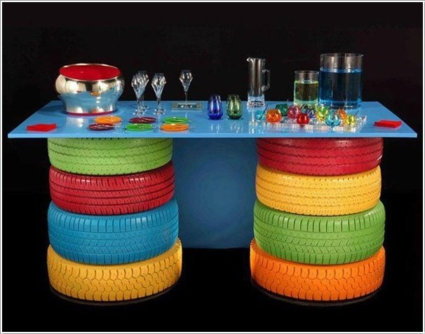 Colorific Outdoor Table--20+ DIY Ways to Repurpose Old Tires for Home and Garden