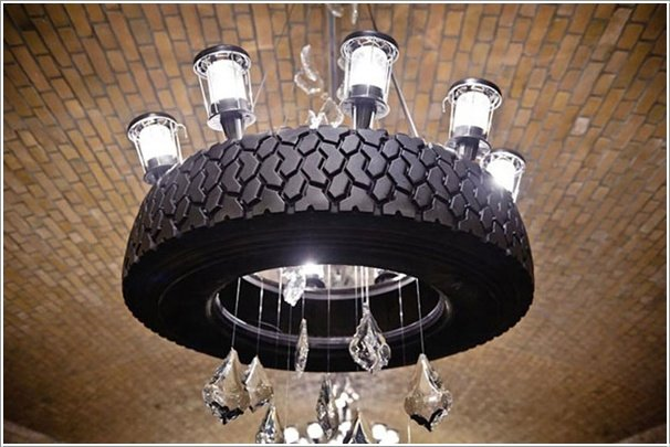 Tire Chandelier-20+ DIY Ways to Repurpose Old Tires for Home and Garden
