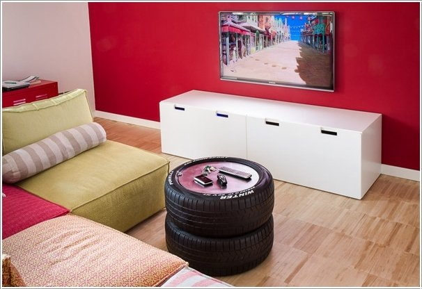 Man Cave Coffee Table-20+ DIY Ways to Repurpose Old Tires for Home and Garden