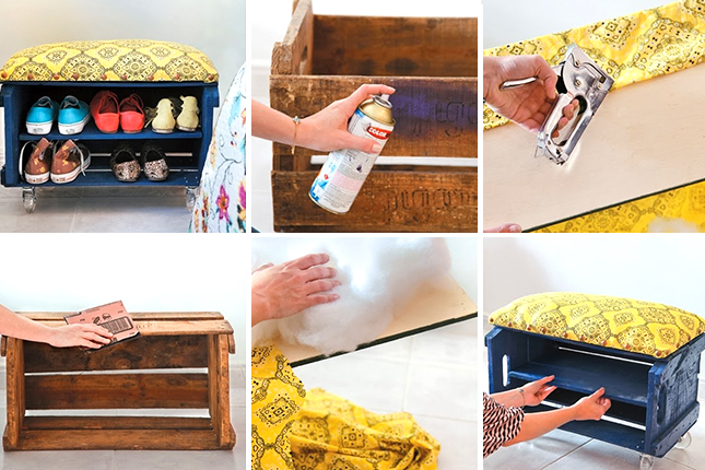 FabArtDIY Wood Wine Crate Ideas and Projects - diy wood crate shoe bench/rack