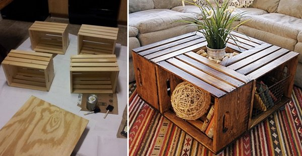 FabArtDIY Wood Wine Crate Ideas and Projects - DIY Wine crate coffee table