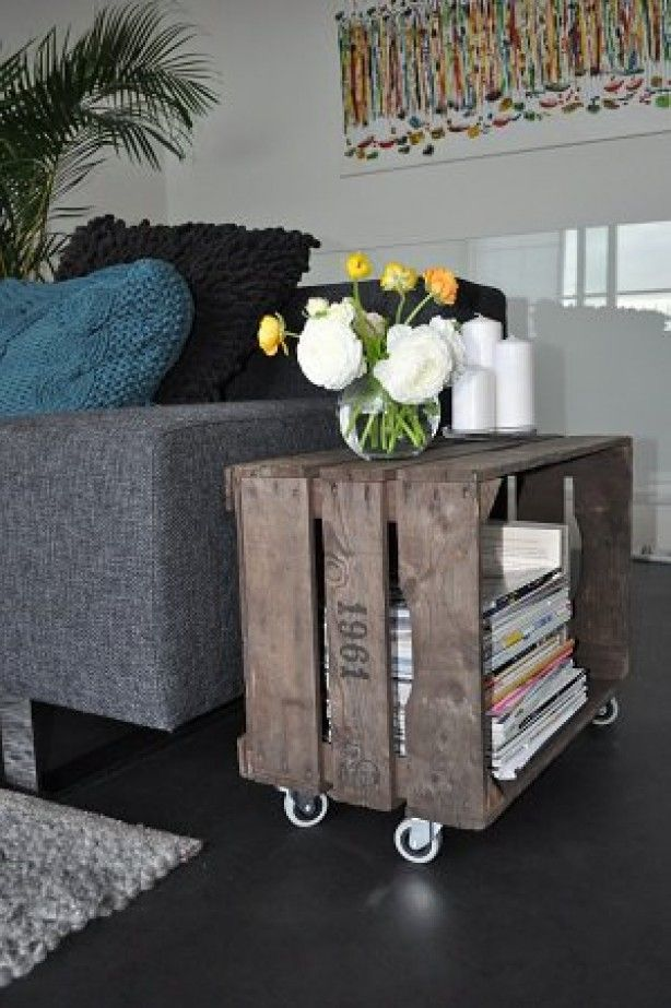 FabArtDIY Wood Wine Crate Ideas and Projects - Wood Crate Side Table