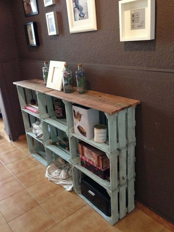 Wood Wine Crate Ideas and Projects Rustic Wood Crate Shelves