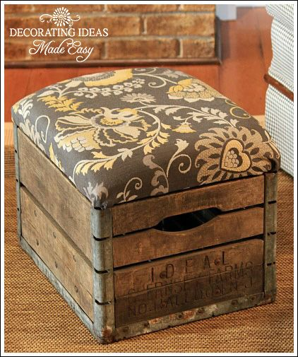FabArtDIY Wood Wine Crate Ideas and Projects - Wood Milk Crate Ottoman