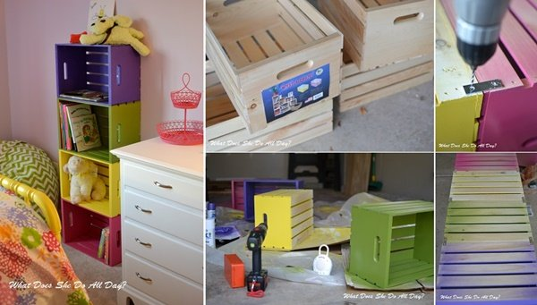 FabArtDIY Wood Wine Crate Ideas and Projects DIY Colorful Wood Crate Bookcase