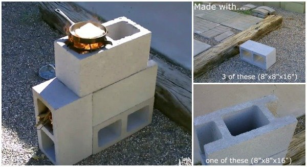 Diy concrete cinder block rocket stove video for 4 block rocket stove