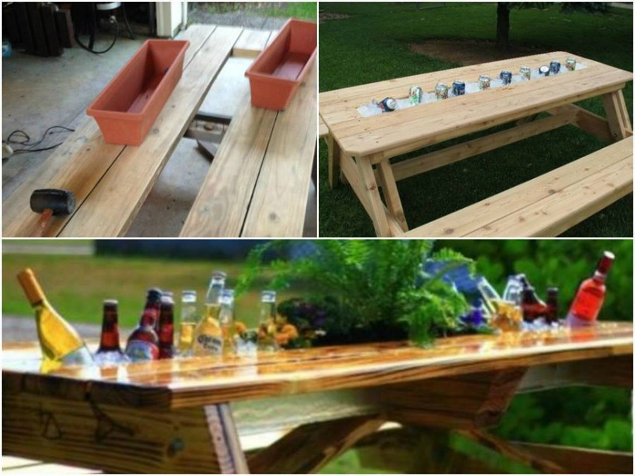 How to diy build in wine cooler table for Decoration patio exterieur