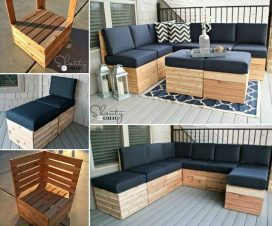 20+ Outdoor Pallet Furniture DIY ideas and tutorials- DIY Modular Sectional Corner Lounge