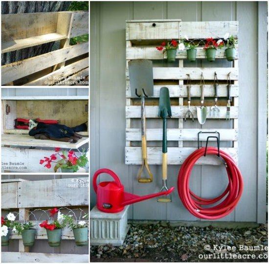 20+ Outdoor Pallet Furniture DIY ideas and tutorials-DIY Pallet Gardening Tool Organizer