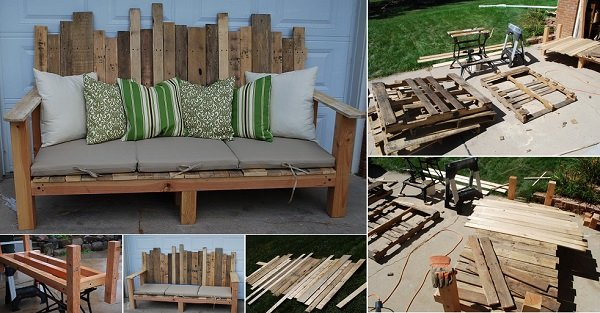 20+ Outdoor Pallet Furniture DIY ideas and tutorials- DIY Outdoor Pallet Sofa