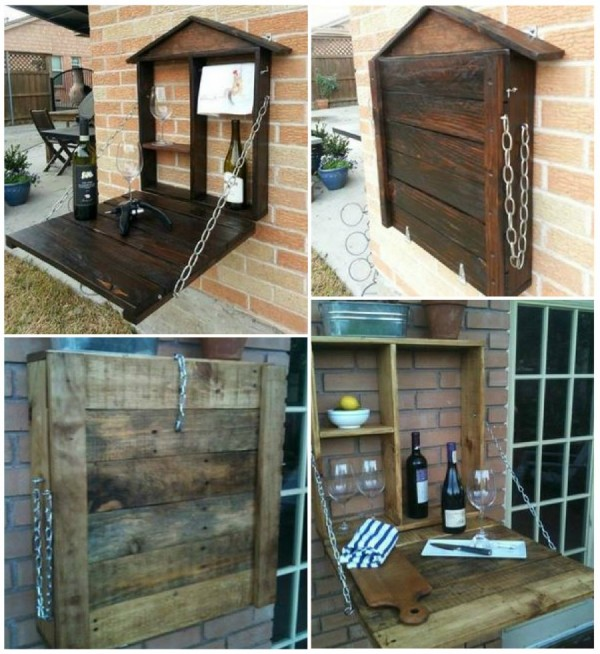 20 Outdoor Pallet Furniture DIY Ideas And Tutorials Fold Down Bar