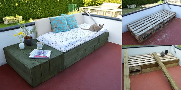 20+ Outdoor Pallet Furniture DIY ideas and tutorials- DIY Pallet Patio Day Bed