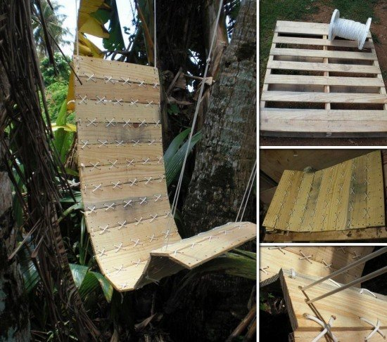 20+ Outdoor Pallet Furniture DIY ideas and tutorials-DIY Outdoor Paracord Laced Hanging Pallet Chair
