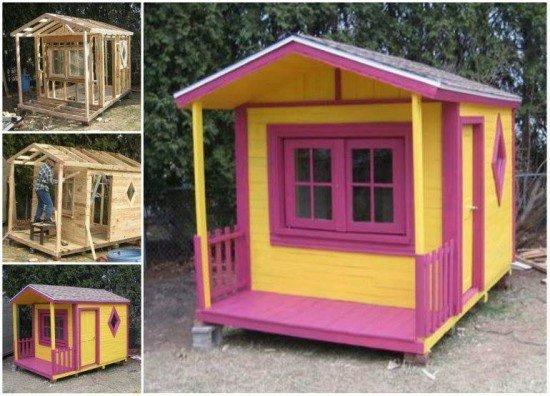20+ Outdoor Pallet Furniture DIY ideas and tutorials-DIY Outdoor Pallet Playhouse