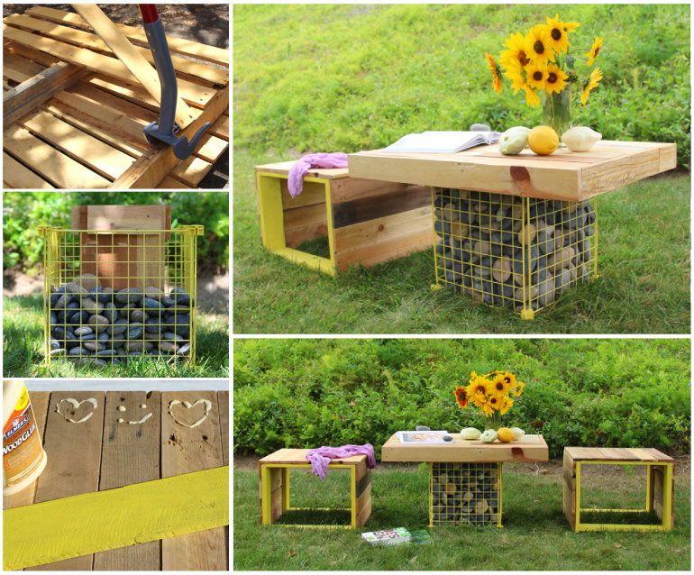 Tutorial: Pallet Bench & Gabion Table via Apieceofrainbow.com