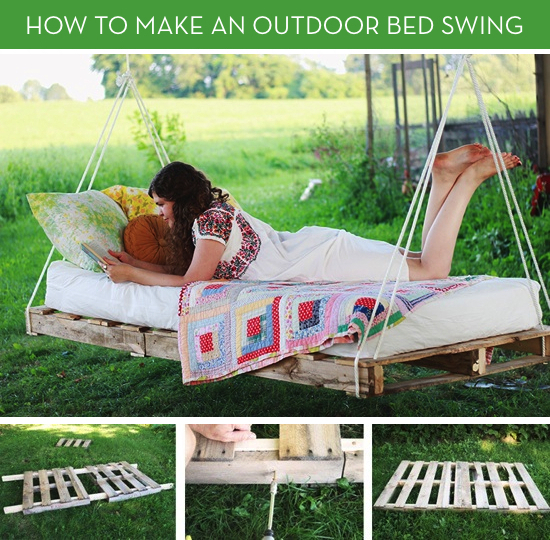 20+ Outdoor Pallet Furniture DIY ideas and tutorials -Pallet Swing Bed