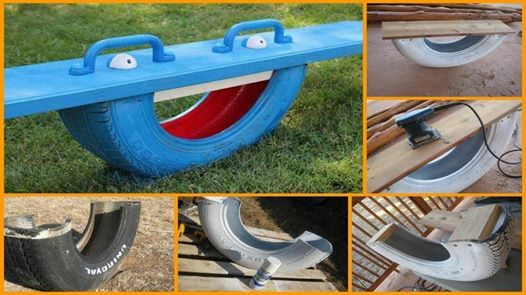 Re-purpose A Tire Into A See Saw (Teeter Totter)--20+ DIY Ways to Repurpose Old Tires for Home and Garden
