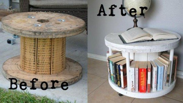 fabartdiy Repurposed Wire Spool Furniture Ideas - diy Spool Bookshelf