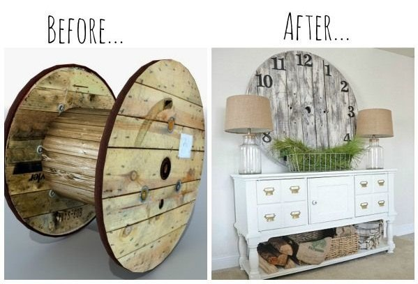 fabartdiy Repurposed Wire Spool Furniture Ideas - diy Wood Pallet wire spool Clock