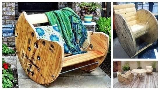 fabartdiy Cable Spool Rocking Chair