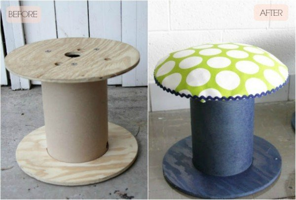 fabartdiy Repurposed Wire Spool Furniture Ideas - diy Electrical wire Spool Stools