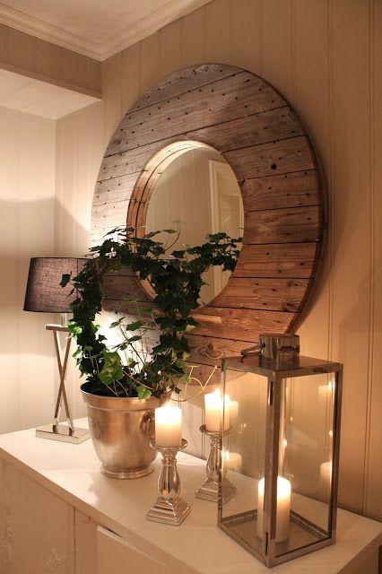 fabartdiy Repurposed Wire Spool Furniture Ideas - diy Cable Spool Drum Mirror