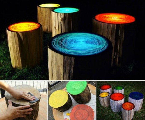 These Glowing Tree Stump Stools will look fantastic in your garden or entertaining area.